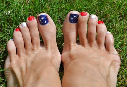 Toes already painted for the 4th!