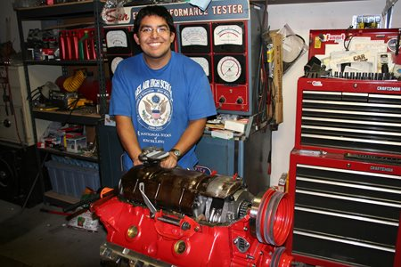 My son assembling the 455 Pontiac H.O. engine