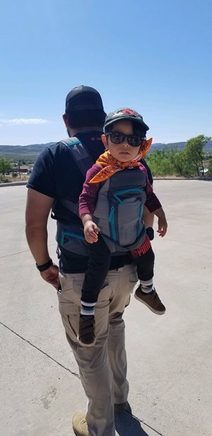 Son and grandson out for a walk